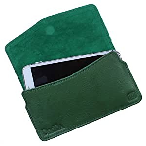 Dooda Genuine Leather Pouch Case For Spice Pinnacle FHD (Mi-525) (GREEN)