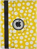 JAMMYLIZARD | Polka 360 Grad rotierende Ledertasche Hülle für iPad 4, iPad 3 und iPad 2, GELB