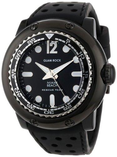 Glam Rock MB26017 - Reloj analógico de cuarzo unisex, correa de silicona color negro