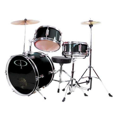 GP Percussion GP50BK Complete Junior Drum Set (Black, 3-Piece Set)