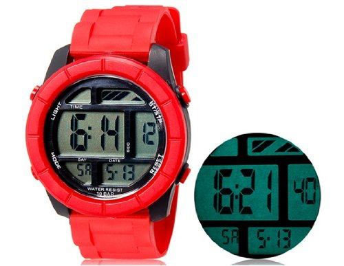 Onceall Shors Sh-781 Unisex Led Digital Waterproof Watch With Week & Date Display (Red) M.