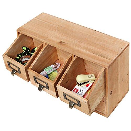 Rustic desktop wooden office organizer drawers craft