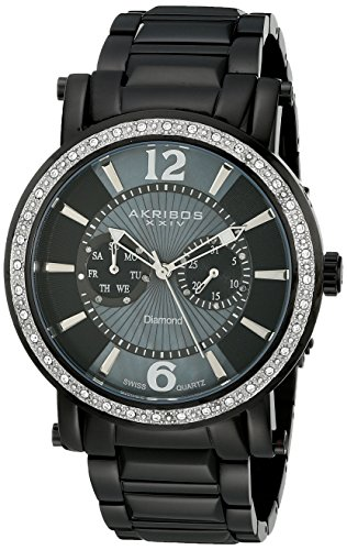 Akribos-XXIV-Mens-AKR465BK-Ultimate-Stainless-Steel-Swiss-Day-and-Date-Diamond-Watch