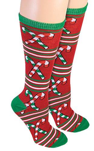 Ugly Christmas Candy Cane Knee Socks