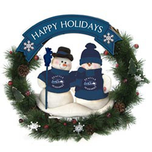 Seattle Seahawks Team Snowman Christmas Wreath at Amazon.com