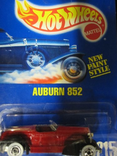 Auburn 852 	1993 Hot Wheels #215 Red with White Walls on Solid Blue Card