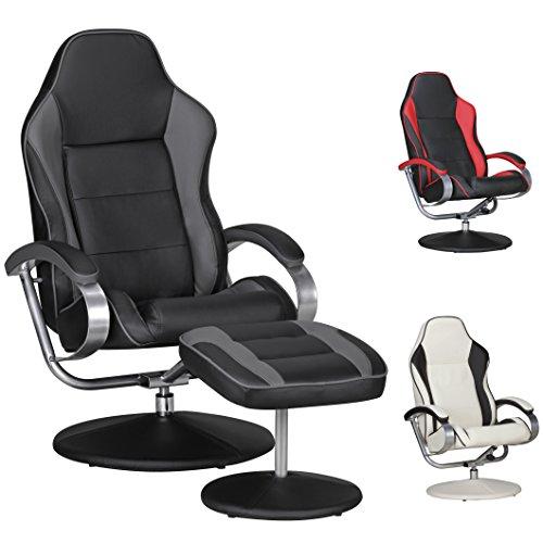 FineBuy-Fernsehsessel-SPEEDY-TV-Design-Relax-Sessel-verstellbar-Racing-Modern-Bezug-Kunstleder-schwarz-grau-drehbar-mit-Hocker-Racer-X-XL-110-kg-mit-Armlehnen-und-Hocker-Gaming-Sessel-ohne-Motor