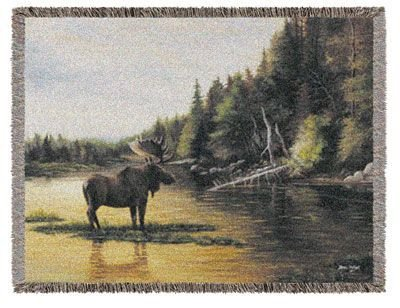 Graceful Moose in Wildlife Forest Setting Tapestry Throw Blanket 50