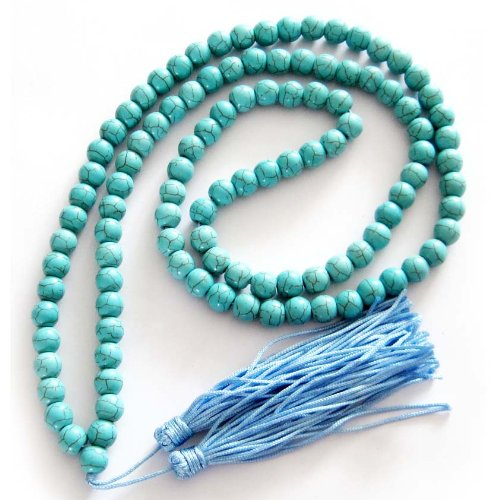 10mm 108 Howlite Turquoisite Beads Buddhist Prayer Rosary Mala Necklace