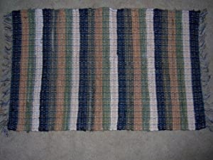 Lido Cathay Rag Rugs 2' x 3' in Green, Gold, Black and Beige