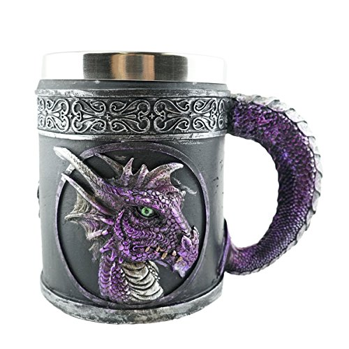 Mythical Purple Royal Dragon Beer Coffee Mug Serpent Handle Medieval Collectible Magical Halloween Party Home Decor Gift (Beer Mugs Medieval compare prices)