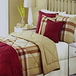 Martha Stewart Essentials Reversible Twin Comforter Solid Burgundy / Khaki