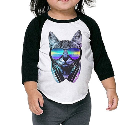 Unisex DJ Cat With Glasses Boys Quarters Raglan Sleeve Colleges Baseball Jerseys (Dj Turntable Ring compare prices)