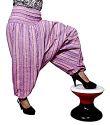 Cotton Aladdin Striped Genie Harem Beggy Pants Gypsy Trousers Free Size (Pink)
