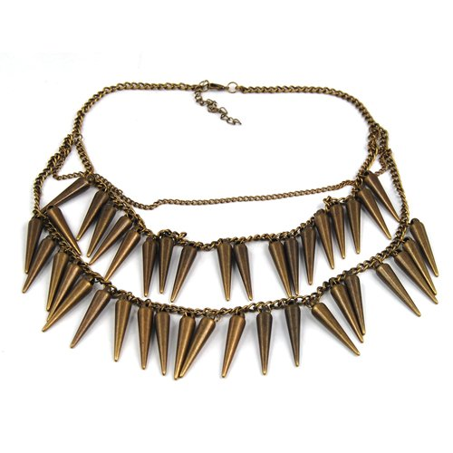 Vintage Bronze Punk Rivets Fringe Spike Party Club Costume Charm Chain Necklace