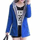 [NS's] 裏起毛 フード 付き ロングパーカー アウター ジャケット あったか 長袖 ジップフロント カジュアル 普段着 家着 にも サイズ M L カラー 5色 グレー ブルー レッド グリーン ブラック (L ブルー)