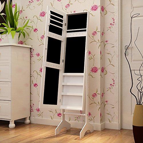 Aparador Mdf Provençal ~ Songmics Armario de pie con espejo para joyas, joyero de madera de pie, color blanco 153cm