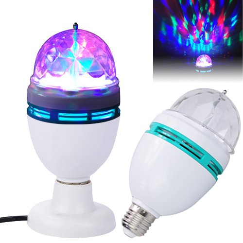 Metro Shop E27 9W 3 Color Changing Rgb Led Crystal Rotating Party Lamp Bulb Light-White