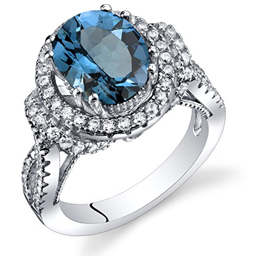 London-Blue-Topaz-Gallery-Ring-Sterling-Silver-Oval-Shape-325-Carats-Sizes-5-to-9