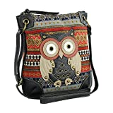 Orange Messenger Bag w/ Studded Patchwork Owl Applique, Tribal Crossbody Purse