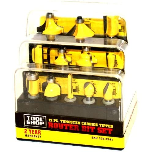 Tool Shop 12 Pc. Tungsten Carbide Tipped Router Bit Set