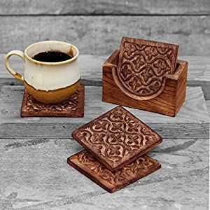 Set of 4 Wooden Square Coasters for Tea Coffee Beer Wine Glass Drinks with Holder Hand carved Floral Motif, Barware and Kitchen Accessories