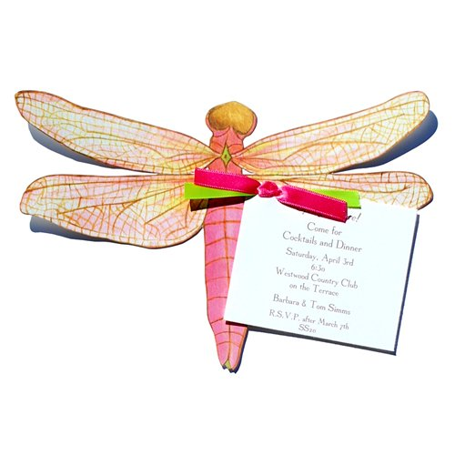 Large Pink Dragonfly Die-Cut Card With Envelope front-941792