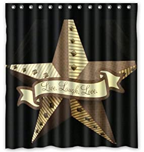 Western texas star water proof polyester for Star curtain fabric