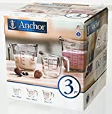 Anchor Hocking Gift Boxed 3-Piece Open-Handle Measuring Cup Set.