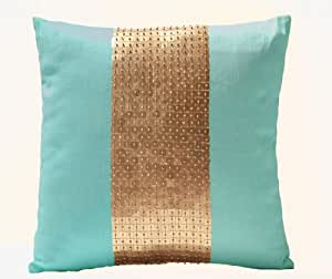 Amore Beaute Handmade Teal pillow covers- Teal gold color block in silk and sequin- Decorative throw pillow covers with sequin and bead embroidery- Sequin pillow covers- Couch pillows- Sofa pillows- Teal cushion with detailed hand embroidery- 16x16 pillow covers- Hand embroidered pillows- Art silk dupioni pillow covers- Toss pillows- Accent pillow cover- Teal cushion covers