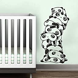 MairGwall Animal Vinyl Lovely Panda Decor- Tare Panda Wall Sticker Boy Girl Room Vinyl Nursery Wall Art (Large,Black)