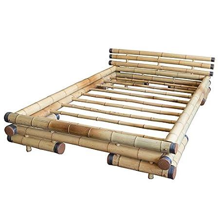 Bambusbett Bambus Bett 180 x 200 natur massiv Bettrahmen natur Holzbett Streben