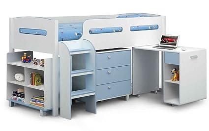 Julian Bowen Kimbo Boys Blue and White Cabin Bed, Size: Takes a standard 3ft Single Mattress