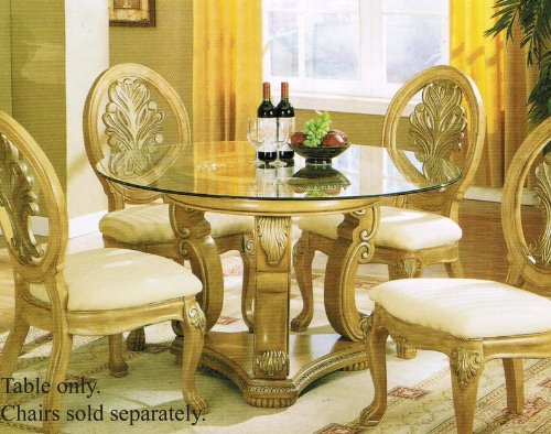 Cheap Pedestal Dining Table with Glass Top Antique Buttermilk Finish (VF_AM8732)