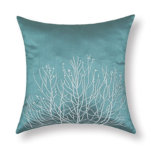 "Euphoria Cushion Covers Pillows Shell Teal Ground White Shrub Grove Embroidery 18"" X 18"" front-584497"