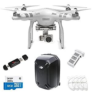 DJI Phantom 3 Advanced Quadcopter Drone with 1080p HD Video Camera + Hardshell Backpack CP.PT.000239 + P3 Intelligent Spare Battery + Lexar Micro SDHC 300x 32GB UHS-I/U1 + Prop Guards + Ritz Gear Card