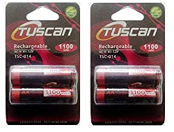 Tuscan 2 Packs of 4 pieces 1100mah AA 1.2V, Rechargeable Ni-Mh Batteries 1100 mAh AA Size