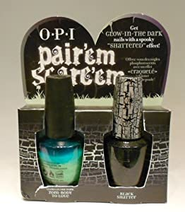 opi halloween 2011 pair'em scare'em **black shatter AND zoom-body to love(glows in the dark)**
