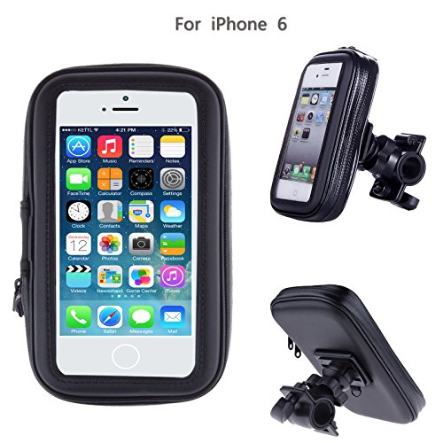 "SAVFY® iPhone 6 Bike Holder - Water Resistant Black Sports Jogging Gym Armband for Apple iPhone 6 4.7"" WaterProof Pouch Bike Mount Holder iphone 6 Bicycle Bag"