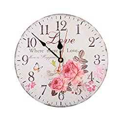 12 Inch Vintage Rustic Country Tuscan Style Silent Wooden Wall Clock Home Decor - Love