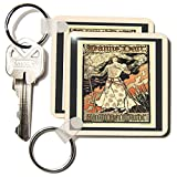 kc_43806 Florene Art Deco and Nouveau - Joan Of Arc Art Nouveau Poster In Peach n Black Frames - Key Chains