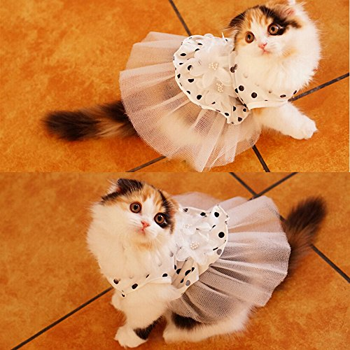 i'Pet® Princess Floral Cat Party Bridal Wedding Dress Small Dog Flower Tutu Ball Gown Puppy Dot Skirt Doggy Photo Apparel Stretchy Clothes Mesh Costume for Spring Summer Wear (White, X-Small)