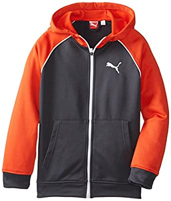 PUMA Big Boys' Raglan Fleece Zip Up, Intense Orange, Small
