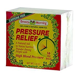 Breezy Morning Teas Natural Pressure Relief Herb Tea Bags, 16 Count