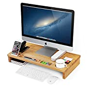SONGMICS Bamboo Wood Monitor Riser with Storage Organizer Office Computer Desk Laptop Cellphone TV Printer Stand Desktop Container Natural ULLD201