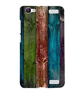 PrintVisa Colorful Wooden Pattern 3D Hard Polycarbonate Designer Back Case Cover for VivoV1MAX