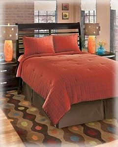 Red orange 4 piece top of bed comforter set - Red and orange comforter sets ...