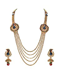 Sukkhi Emerald Ruby Meenakari Five String Gold Plated Mayur Necklace Set