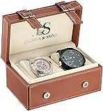 Joshua & Sons Men's JS-46-03 Analog Display Japanese Quartz Black Watch Set