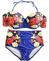 Petite High Waist Floral Print Push Up Bikini Sets Halter Bandage Swimwear RUNS SMALL